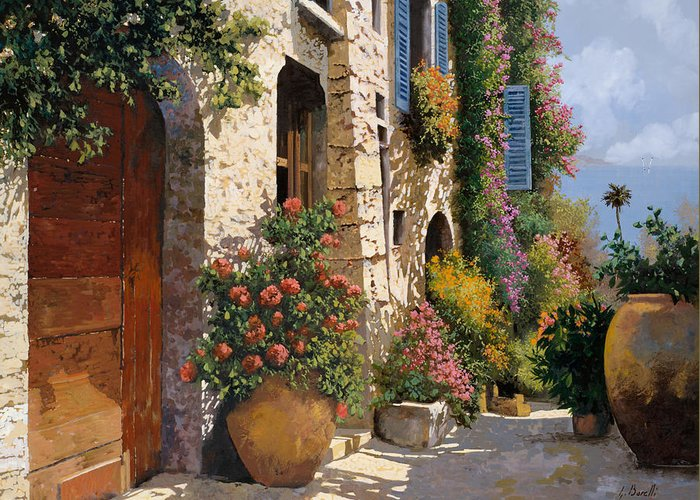 Street Scene Greeting Card featuring the painting La Bella Strada by Guido Borelli