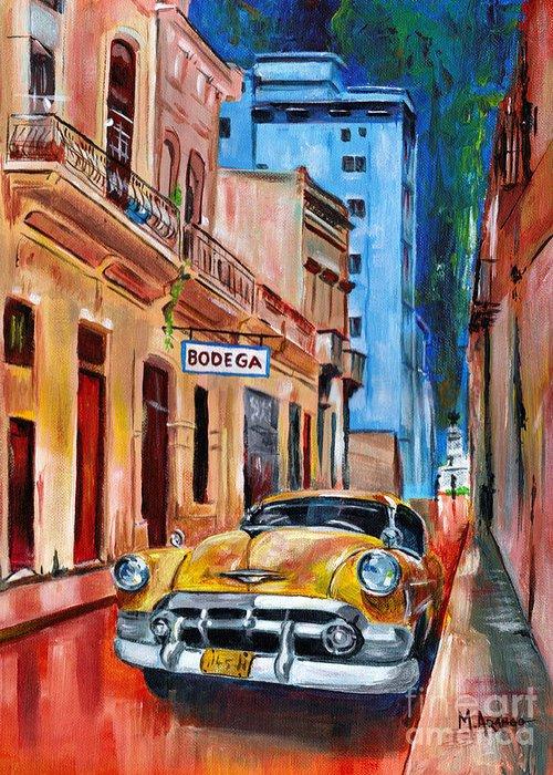 Cuba Greeting Card featuring the painting La Bodeguita by Maria Arango