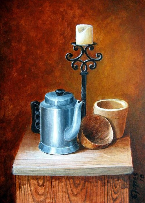 Acrylic Greeting Card featuring the painting La Cafetera by Edgar Torres