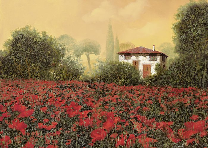 Summer Greeting Card featuring the painting La Casa E I Papaveri by Guido Borelli
