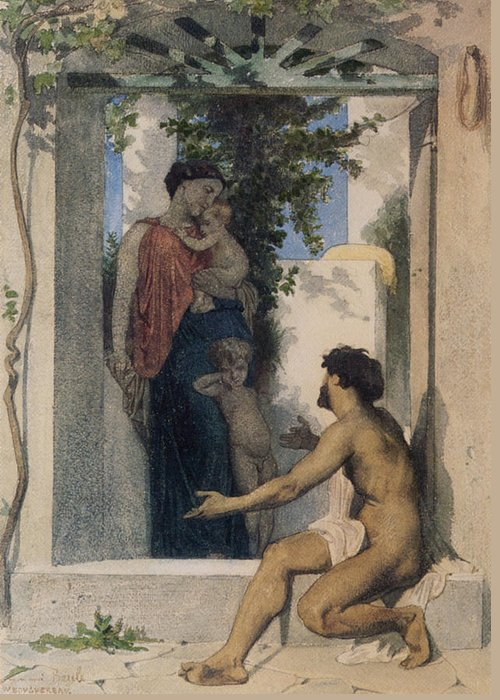 William Greeting Card featuring the digital art La Charite Romaine by William Bouguereau