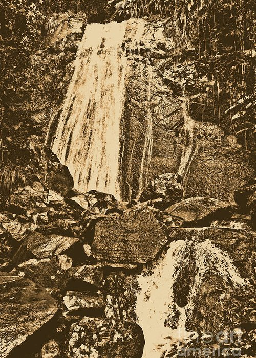 Travelpixpro Puerto Rico Greeting Card featuring the photograph La Coca Falls El Yunque National Rainforest Puerto Rico Prints Rustic by Shawn O'Brien