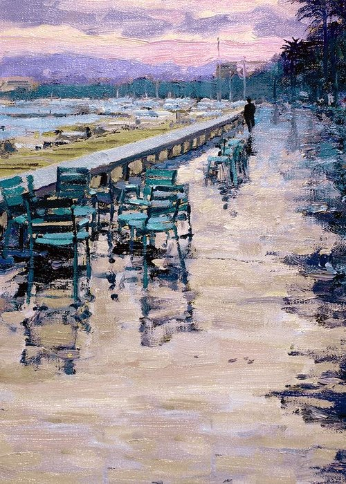 Sea Shore Greeting Card featuring the painting La Croisette by Michael Swanson