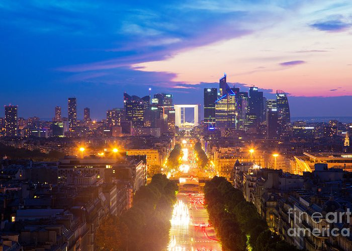 Paris Greeting Card featuring the photograph La Defense And Champs Elysees At Sunset In Paris France by Michal Bednarek