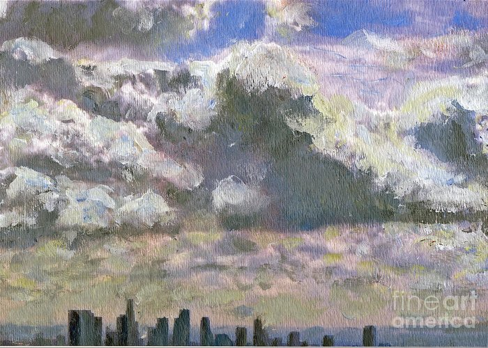 Clouds Greeting Card featuring the painting LA Equivalent by Randy Sprout