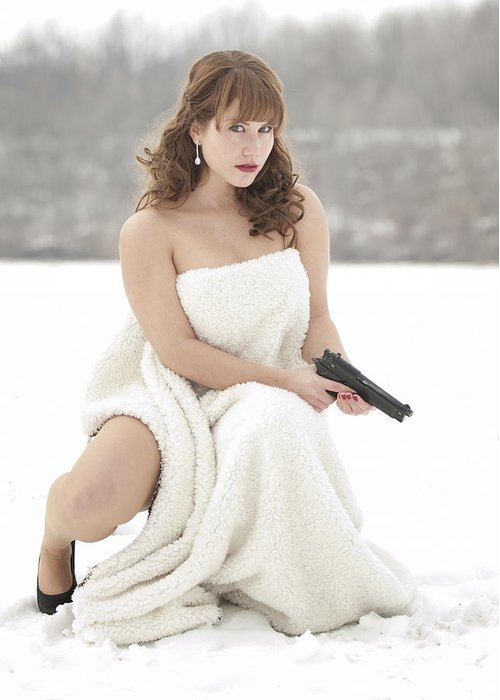 Snowy Greeting Card featuring the photograph La Femme by Brian Mollenkopf