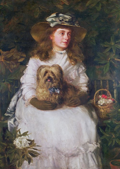 Dog Hat Greeting Card featuring the painting La Jeunesse, 1884 by Patrick William Adam