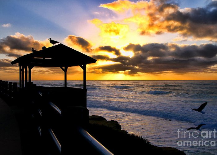 Sunset Greeting Card featuring the photograph La Jolla At Sunset By Diana Sainz by Diana Sainz