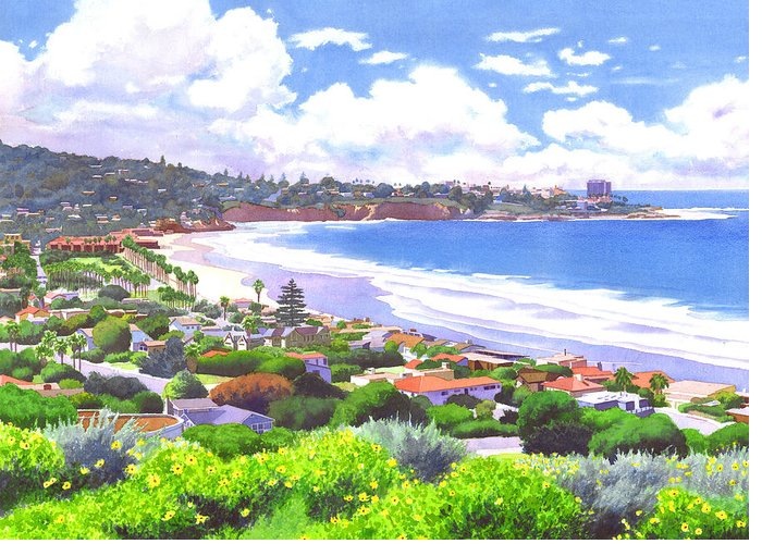 Landscape Greeting Card featuring the painting La Jolla California by Mary Helmreich