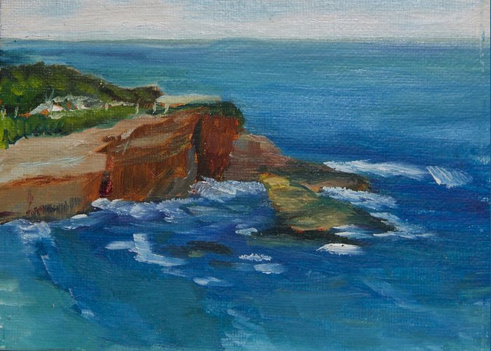 100 Paintings Greeting Card featuring the painting La Jolla Cove 023 by Jeremy McKay