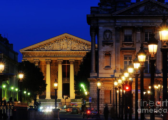 Paris Greeting Card featuring the photograph La Madeleine At Night by Colin Woods