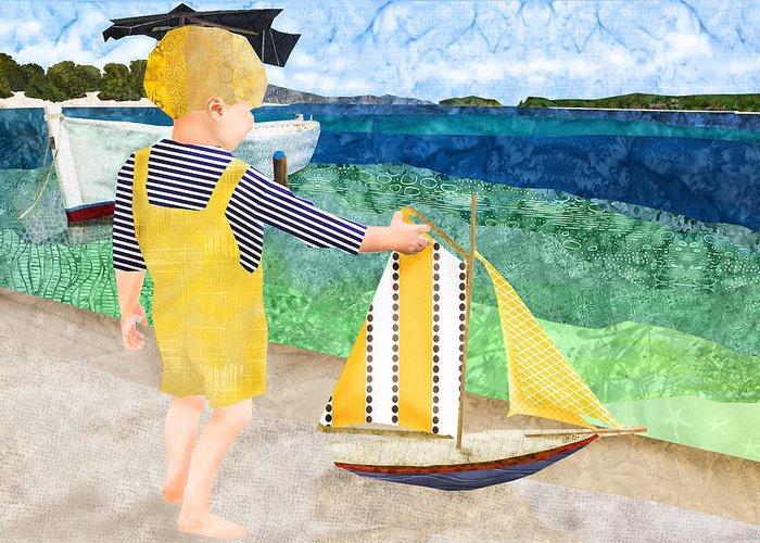 Fabric Melodies Greeting Card featuring the digital art La Mer by Robin Morgan