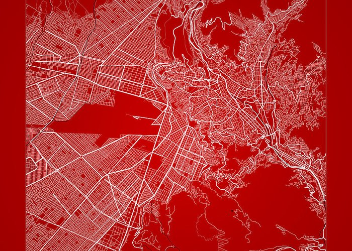 Road Map Greeting Card featuring the digital art La Paz Street Map - La Paz Bolivia Road Map Art On Color by Jurq Studio