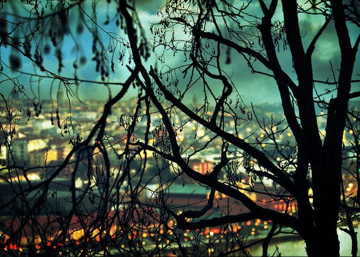 City Lights Greeting Card featuring the photograph La Perte by Taylan Apukovska