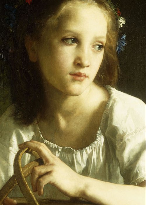 La; Petite; Ophelie; Ophelia; Child; Girl; Female; Young; Youth; Half Length; Basket; Leaves; Flower; Flowers; Floral; Garland; Innocence; Innocent; Thoughtful; Pensive; French; Pale Skinned; Pale Greeting Card featuring the painting La Petite Ophelie by William Adolphe Bouguereau