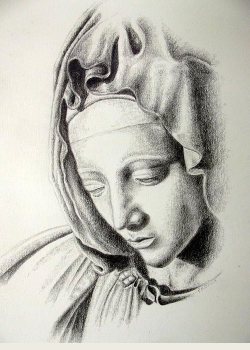 Religious Greeting Card featuring the drawing La Pieta Madonna by Heather Calderon