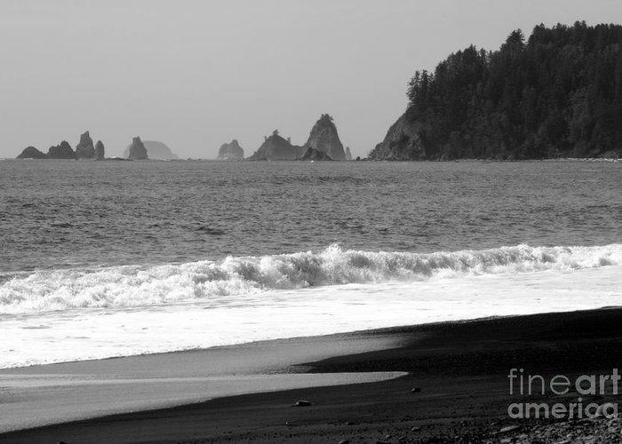 La Push Beach Greeting Card featuring the photograph La Push Beach Black And White by Carol Groenen