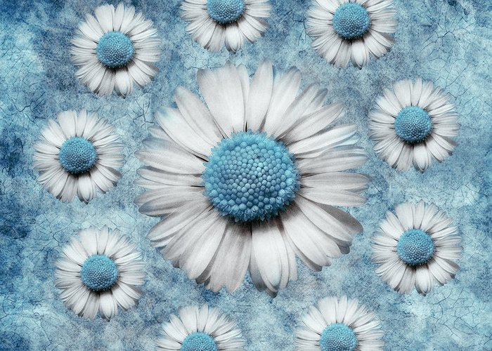 turquoise Art Greeting Card featuring the digital art La Ronde Des Marguerites - Blue V02 by Variance Collections