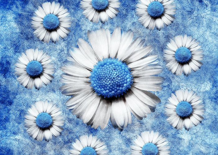 Marguerites Digital Art Greeting Card featuring the digital art La Ronde Des Marguerites - Blue V05 by Variance Collections