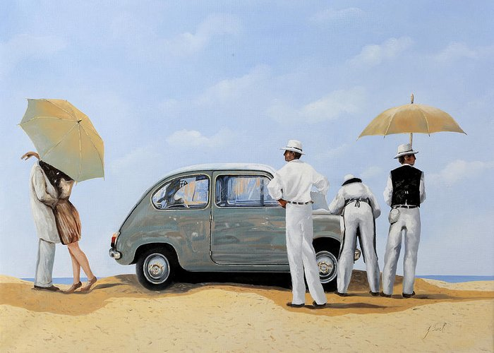 Desert Greeting Card featuring the painting La Seicento by Guido Borelli