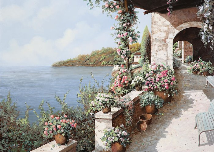 Coastal Greeting Card featuring the painting La Terrazza by Guido Borelli