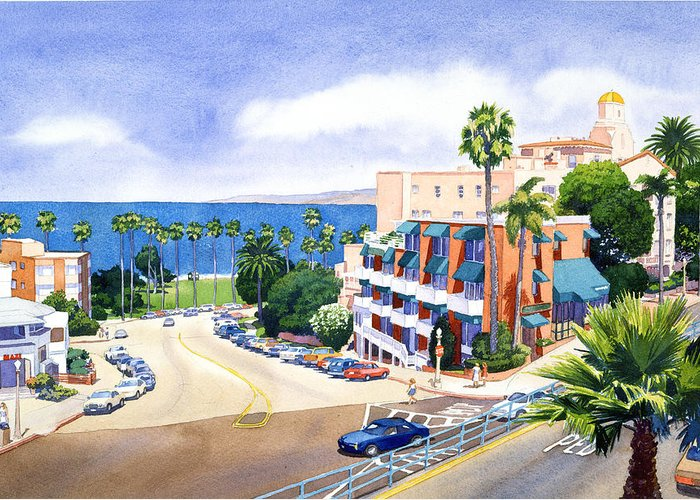 La Jolla Greeting Card featuring the painting La Valencia And Prospect Park Inn Lj by Mary Helmreich