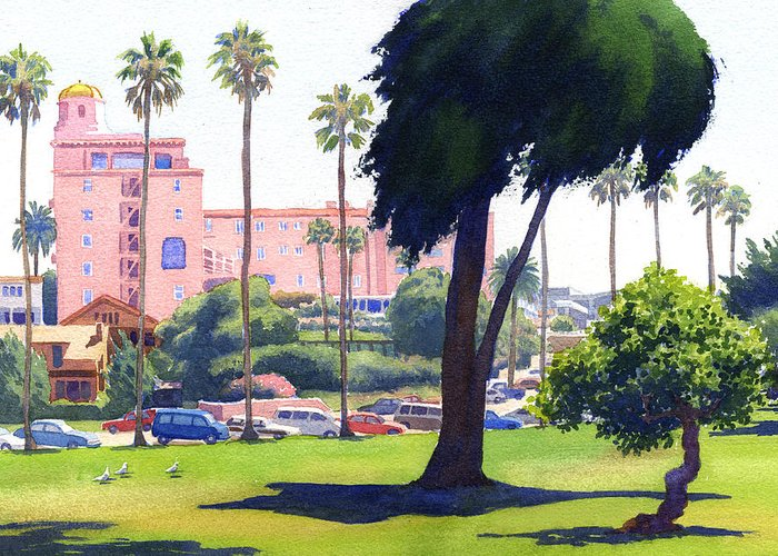 La Valencia Greeting Card featuring the painting La Valencia Hotel And Cypress by Mary Helmreich
