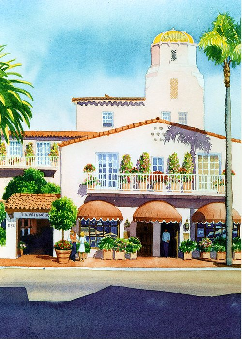 La Valencia Hotel Greeting Card featuring the painting La Valencia Hotel by Mary Helmreich