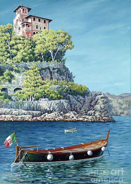 Portofino Greeting Card featuring the painting La Vie En Rose by Danielle Perry