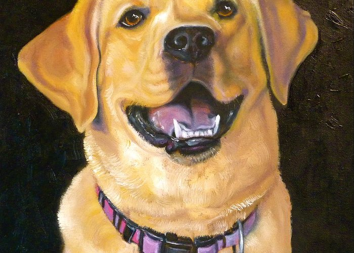 Labrador Greeting Card featuring the painting Lab Adorable by Susan A Becker