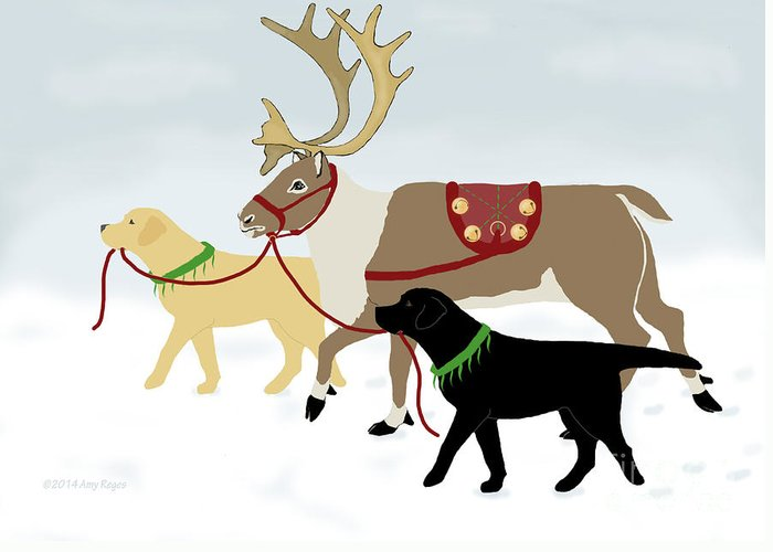 Lab Greeting Card featuring the digital art Labrador Dogs Lead Reindeer by Amy Reges