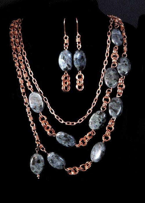 Necklace Greeting Card featuring the painting Labradorite And Copper by Jan Brieger-Scranton