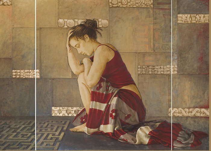 Beauty Greeting Card featuring the painting Labyrinth by Sobobak