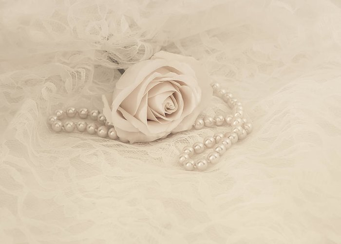 Pearl Greeting Card featuring the photograph Lace And Promises by Kim Hojnacki