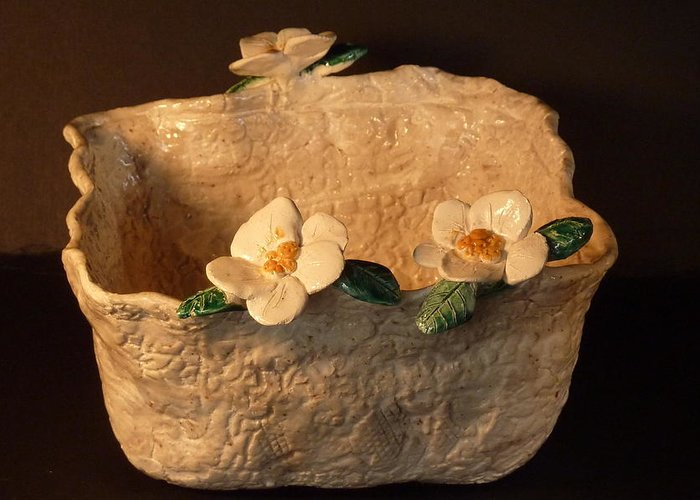 Lace Greeting Card featuring the sculpture Lace Bowl Sculpture by Debbie Limoli