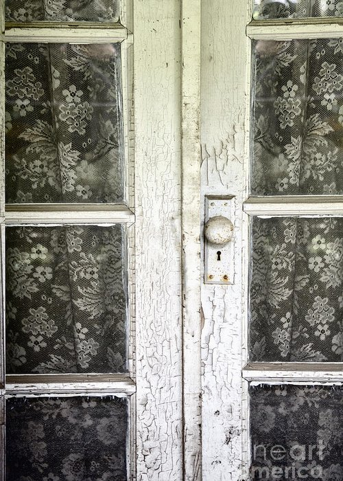 Doors Greeting Card featuring the photograph Lace Curtains by Margie Hurwich