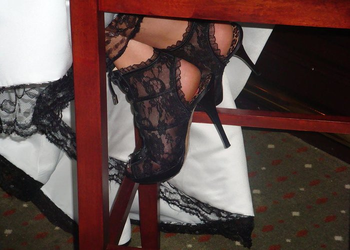 Lace Greeting Card featuring the photograph Lace Stiletto by Robyn Leakey