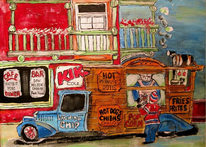 Chips Greeting Card featuring the painting Lachine Chip Wagon by Michael Litvack