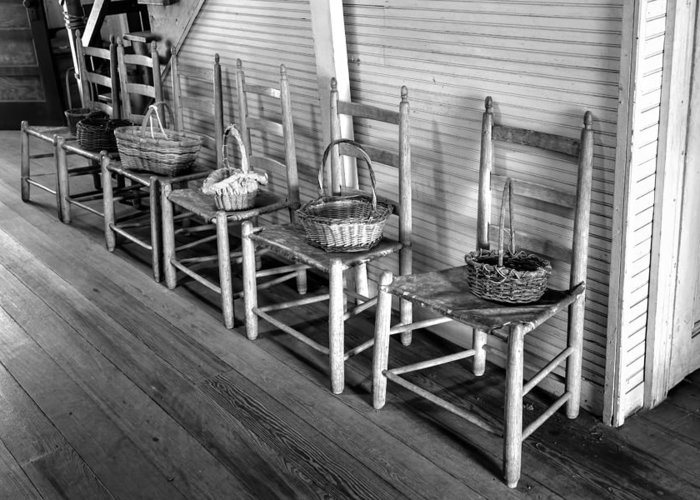 Ladder Back Chairs And Baskets Greeting Card featuring the photograph Ladder Back Chairs And Baskets by Lynn Palmer