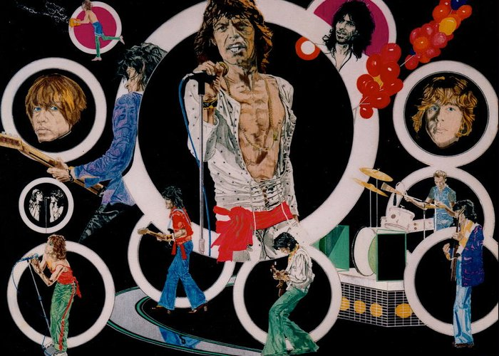 Mick Jagger;keith Richards;brian Jones;charlie Watts;bill Wyman;rock & Roll;music;guitars;water Greeting Card featuring the drawing Ladies And Gentlemen - The Rolling Stones by Sean Connolly