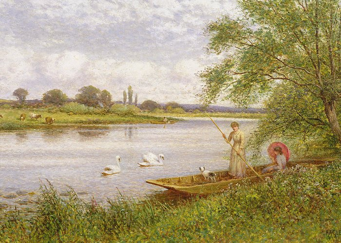 Swans Greeting Card featuring the painting Ladies In A Punt by Arthur Augustus II Glendening