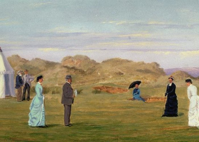 Golf Greeting Card featuring the painting Ladies Match At Westward Ho by Francis Powell Hopkins