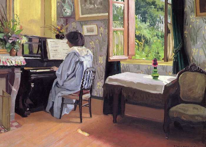 Interior Greeting Card featuring the painting Lady At The Piano by Felix Edouard Vallotton