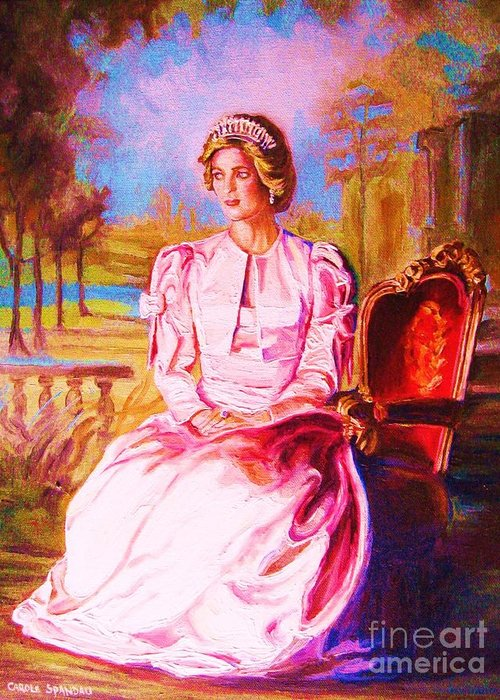 Princess Diana Greeting Card featuring the painting Lady Diana Our Princess by Carole Spandau