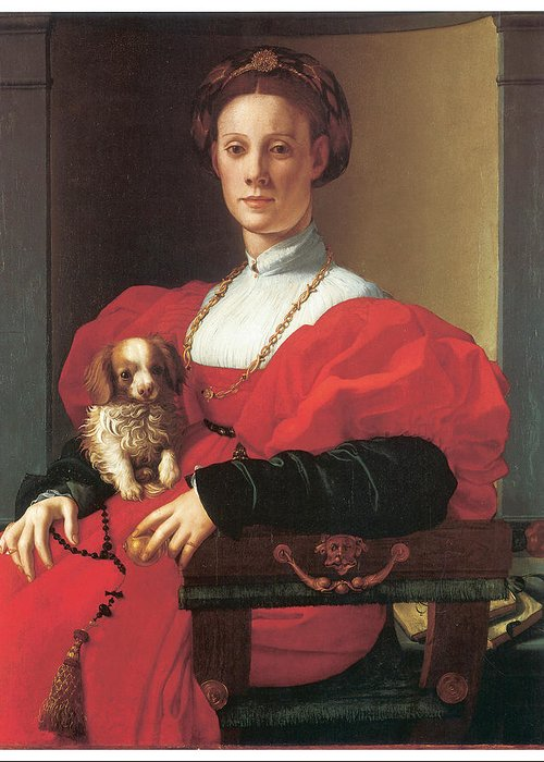 Jacopo Pontormo Greeting Card featuring the painting Lady In A Red Dress by Jacopo Pontormo