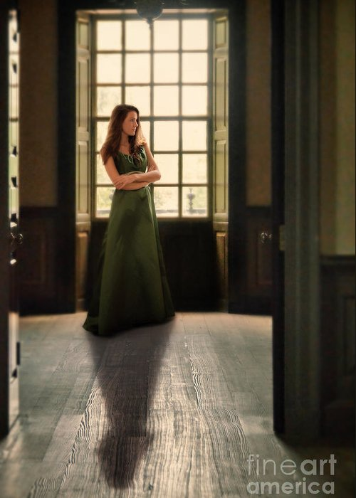 Beautiful Greeting Card featuring the photograph Lady In Green Gown By Window by Jill Battaglia