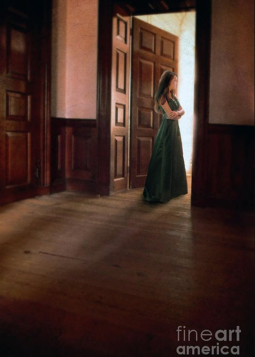 Beautiful Greeting Card featuring the photograph Lady In Green Gown In Doorway by Jill Battaglia