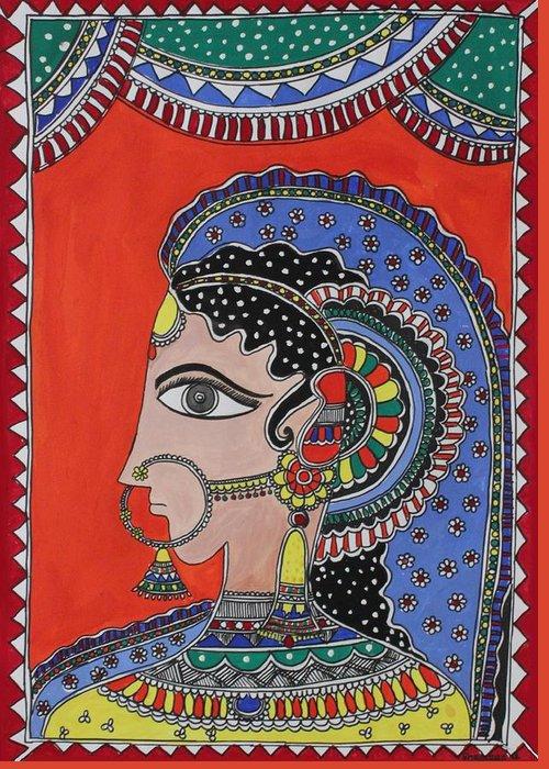 Shakhenabat Greeting Card featuring the painting Lady In Ornaments by Shakhenabat Kasana
