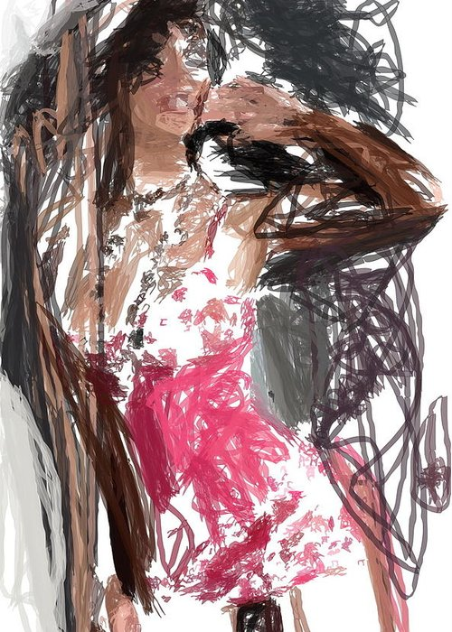 Lady Greeting Card featuring the digital art Lady In Red by Danny Ceunen