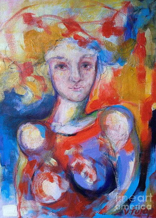 Lady Greeting Card featuring the painting Lady In Red by Valeria Fulop-Pochon